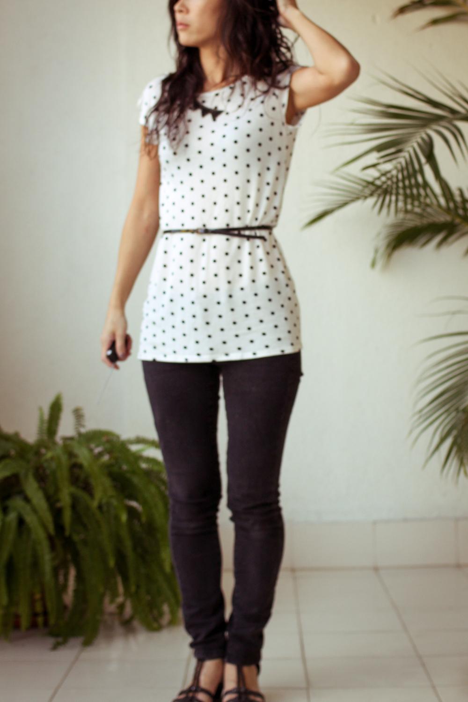 Monday mode black white polka dot shirt chuzai living for White red polka dot shirt