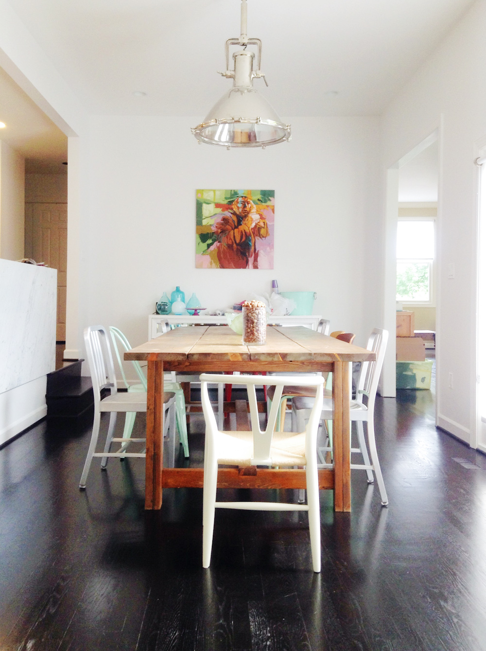 Beautiful White Kitchen Dining Table With Mixed Chairs